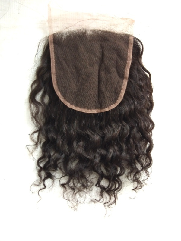 Top grade 100% unprocessed Raw Natural Curly Hair Closure 4x4