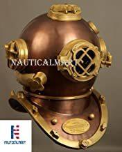 Nauticalmart Antique U.s Navy Mark V Solid Steel Brass Diving Divers Helmet 18''