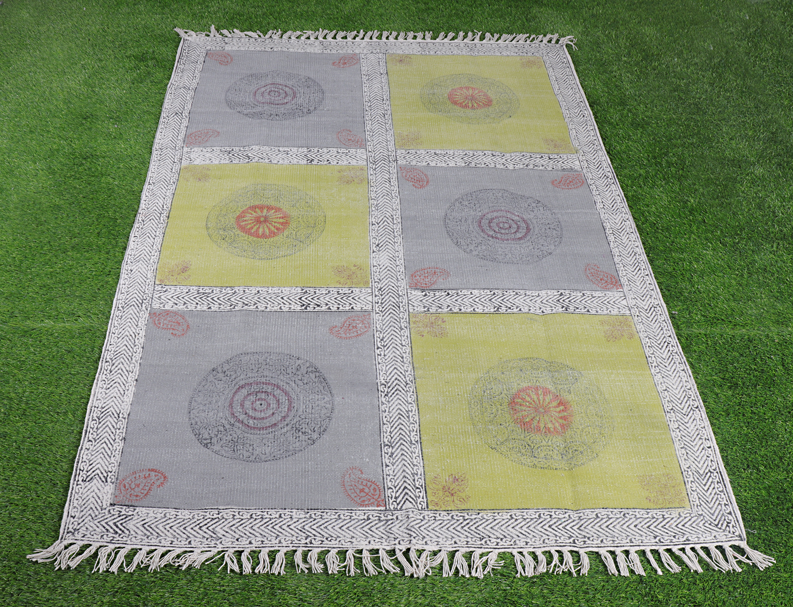 Cotton Handblock Printed Rug