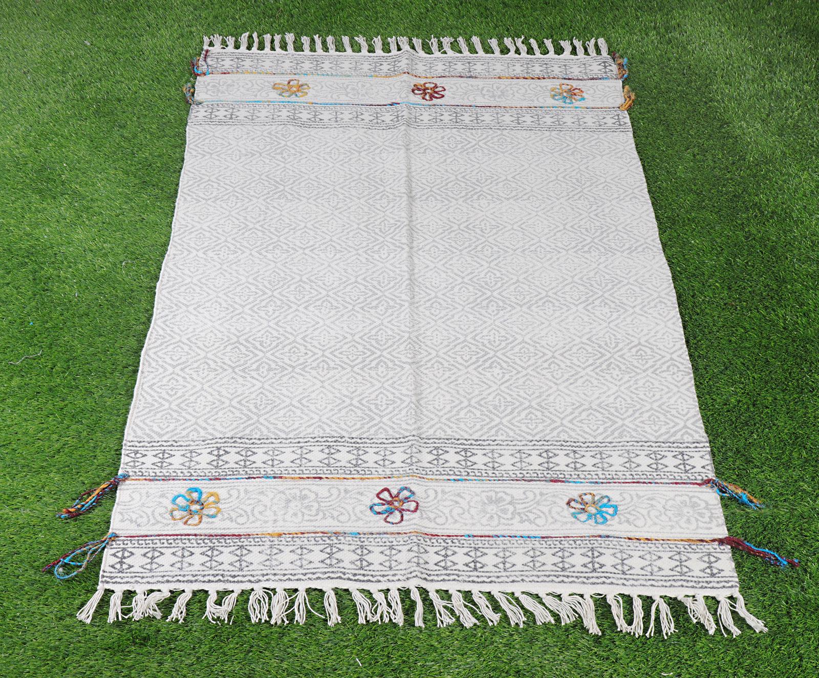 Cotton Handblock Embroidery Rug