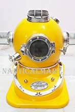 NauticalMart Hand Crafted Yellow Copper Scuba Morse Boston Brass Diving Helmet US Navy Divers Helmet with Heavy Duty Wooden Stand