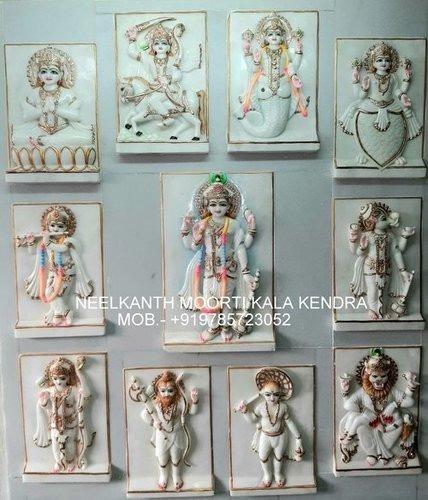 Marble Vishnu & Laxmi Statue