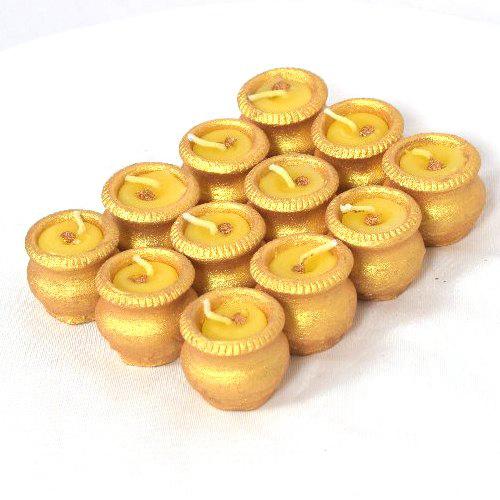 Golden Mini Terracotta Matki Diya