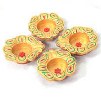 4 Piece Terracotta Painted Diya