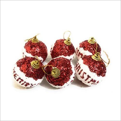 6 Pcs Red Color Christmas Balls