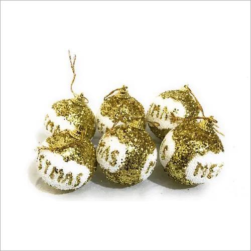 6 Pcs Golden Color Christmas Balls