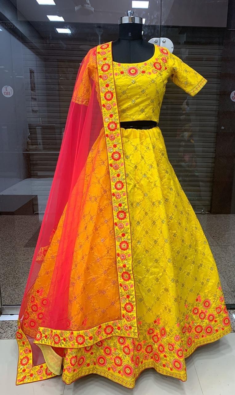 Designer Yellow lahenga choli