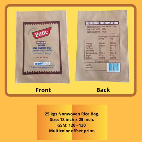 25 kgs Nonwoven Rice Bag