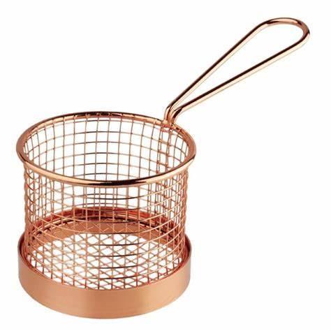 Mini Serving Basket Round Antique Copper SS