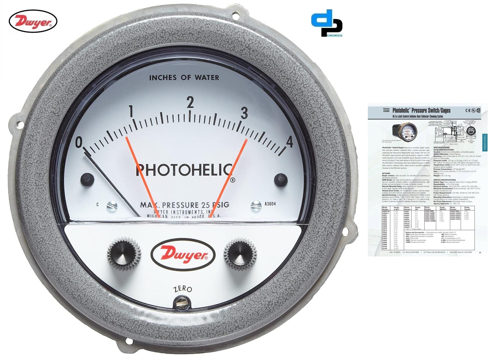 Dwyer A3000-1.5KPA Photohelic Pressure Switch