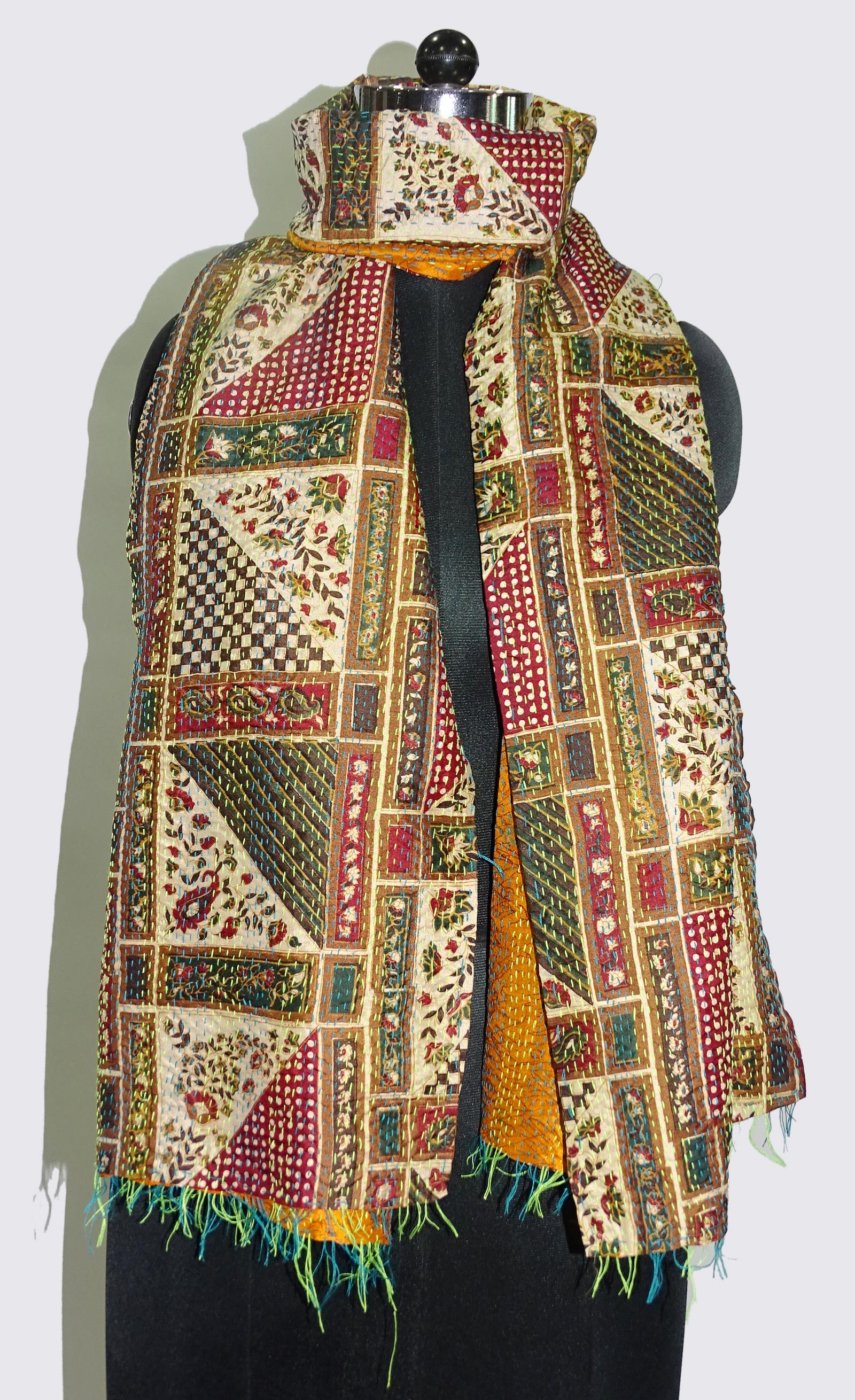 Vintage Silk Kantha Patchwork Scarves