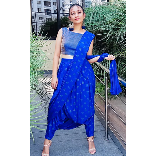 Pre-draped Foil Printed Dhoti Saree With Blouse Set