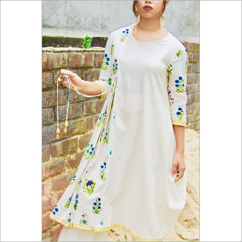 Block Printed Khadi Draped Kurta With Pleated Pant Set