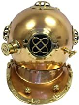 NauticalMart Full Sized US Navy Antique Finish Brass and Copper Diver Helmet Replica