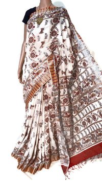 PURE LINEN BY COTTON MADHUBANI PRINTED SAREE.