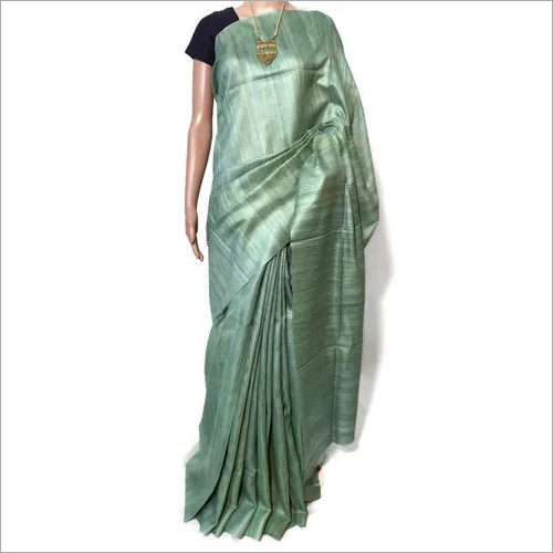 PURE GHEECHA TUSSAR SILK FULL PLAIN SAREE .