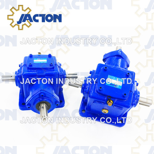 Jt32 Right Angle Spiral Bevel Gearbox with Dual Output Shafts and Input Shaft Configuration
