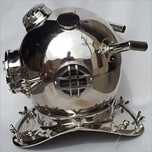 Chrome Finished Copper Divers Helmet, Us Navy Mark Five 18