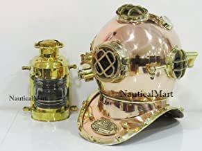 Copper Brass Mark V Diving Divers Helmet with Nautical Oil Lamp Lantern