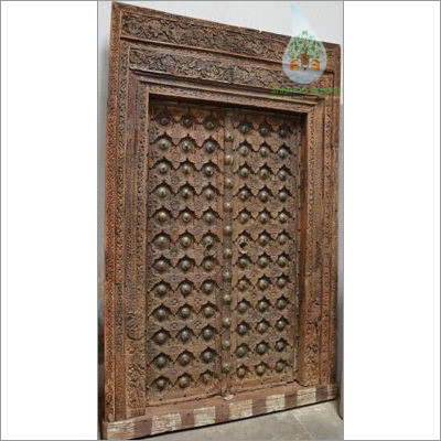 Antique Indian Carved Brass Old Door