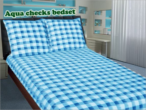 Aqua Checks Bed Set