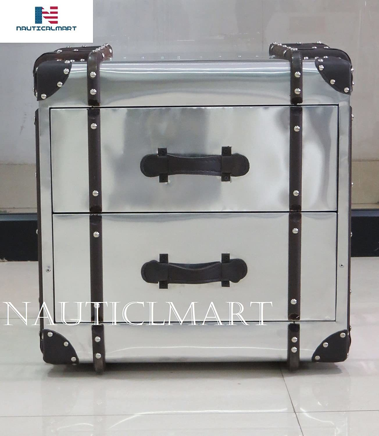 NauticalMart Aviator Side Table - Metal Side Table - Metal End Table with 2 Drawers