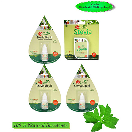 So Sweet Stevia Combo of 100 Stevia Tablets and Stevia Liquid - Pack of 3-300 Drops