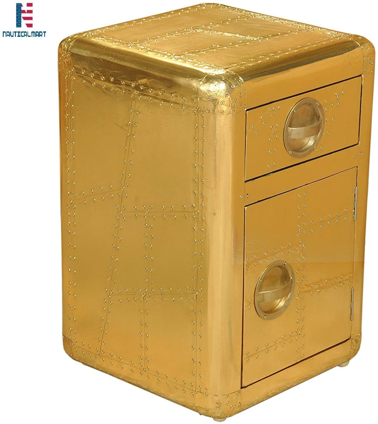 NauticalMart Aviator Side Table with Door and Drawer Handmade Aviation Accent Chest Gold