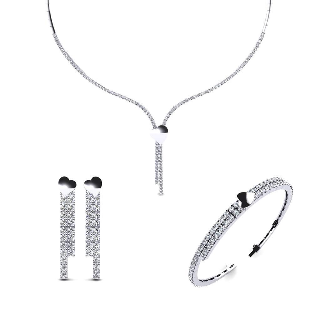 Silver Solitaire Pendant Set