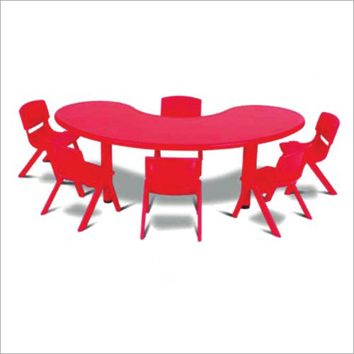 Banana Shape Plastic Table With 6 Chair Set