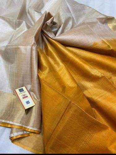 PURE DESI TUSSAR SILK WITH REAL GOLD METALLIC JARI BORDER SAREES, CONTRAST PALLU WITH BLOUSE.