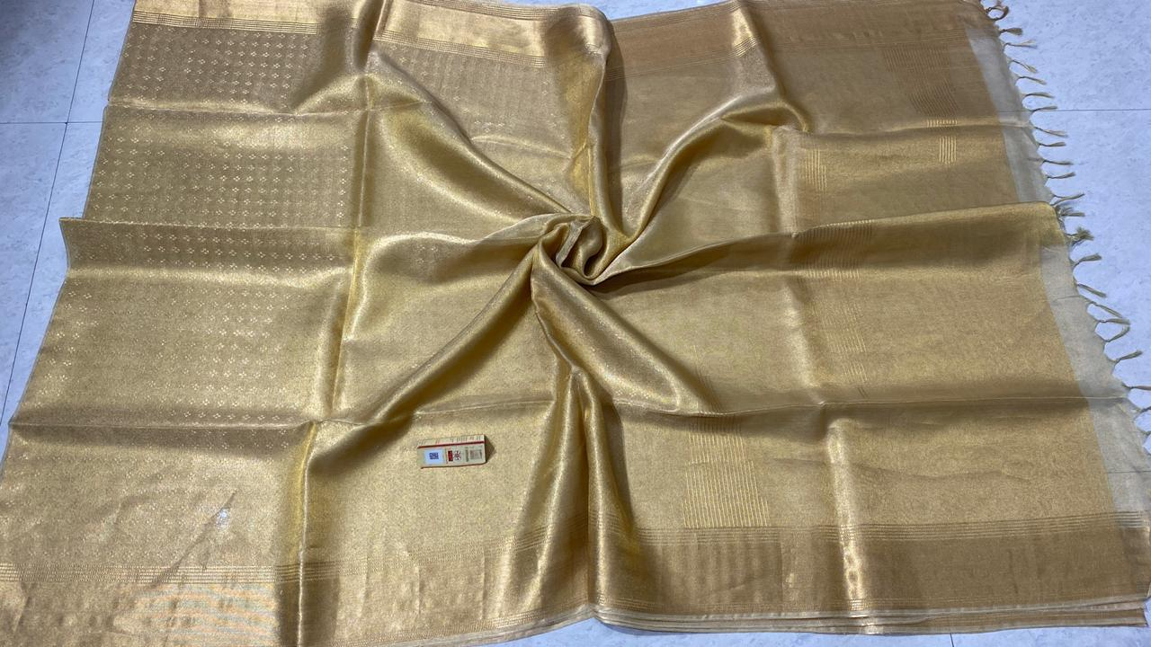 PURE TISSUE TUSSAR SILK SELF WOVEN SAREES, WITH BLOUSE.