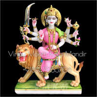 Goddess Durga Multicolor Marble  Statue