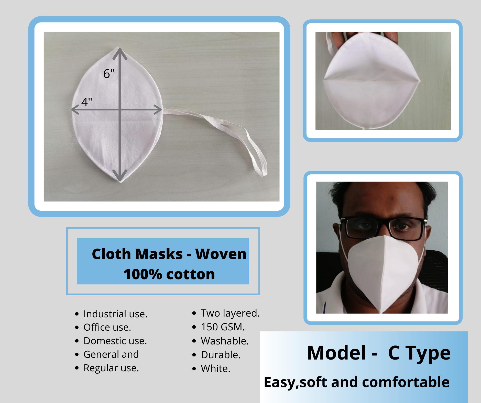 C Type Cotton Cloth Masks