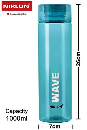 Nirlon Unbreakable Wave Plastic Bottle, Blue, 1000mL, Multi Color