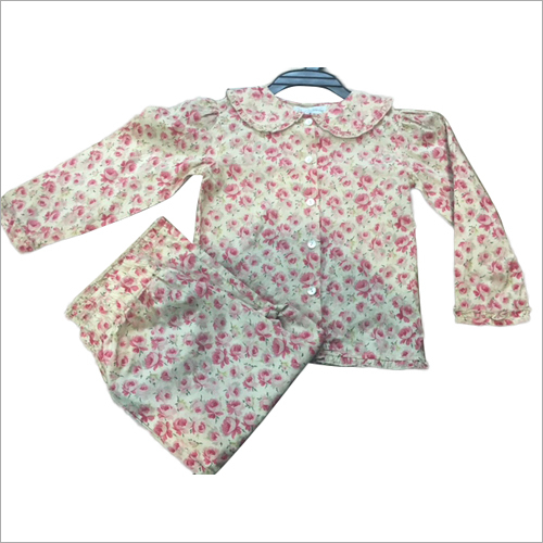 Printed Cambric Floral Girls Night Suit Set