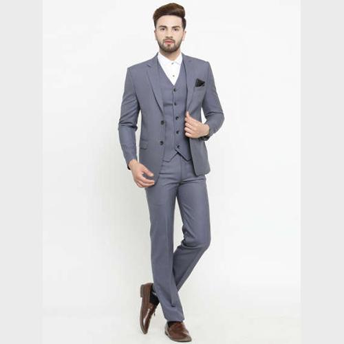 Mens Slim Fit Grey 3Pcs Suit