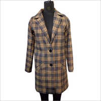 Ladies Checked Button Coat