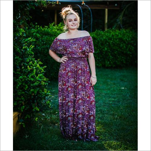 Ladies Designer Off Shoulder Printed Dress
