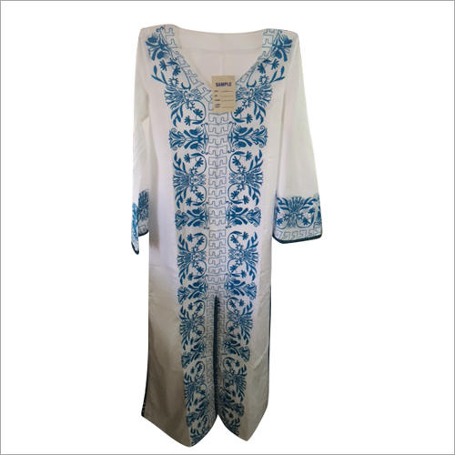 Cotton Cambric Embroidery Kaftan Dress