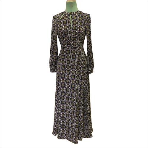 Poly Moss Print Winter Dress