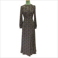 Poly Moss Print Winter Dress
