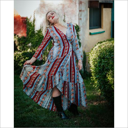Ladies Wrap Printed Dress