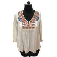 Viscose Crinkle Embroidery Top