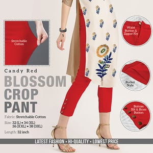 Red Blossom Crop Pant