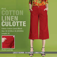 Red Cotton Line Trouser