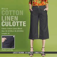 Black Cotton Line Trouser