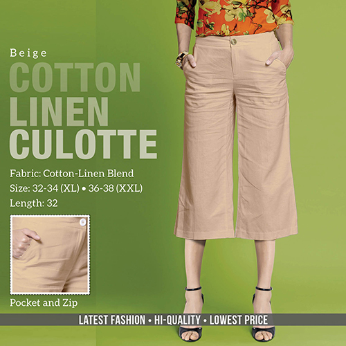 Beige Cotton Line Trouser
