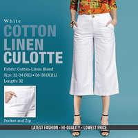 White Cotton Line Trouser