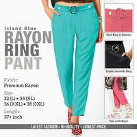 Blue Rayon Ring Pant